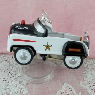 Miniature police pedal car for dollhouse 10 cms