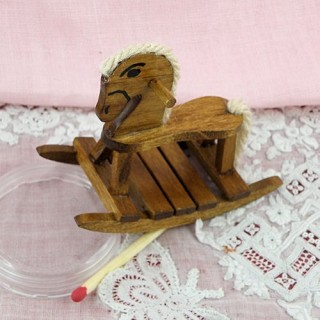 Small wood rocking horse doll house miniature
