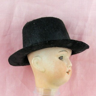 Black felt hat miniature 3 inches for doll