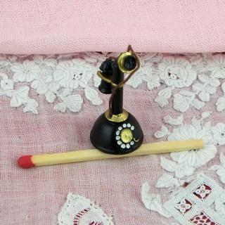 Schwarzes Miniaturrücktelephon 30 mm.