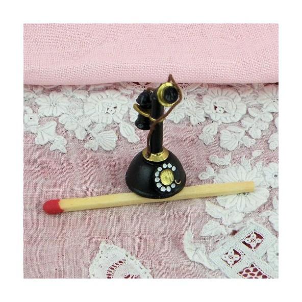 Téléphone miniature rétro noir 30 mm.