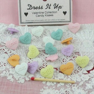 Dress It Up heart bulging shank buttons pastels.
