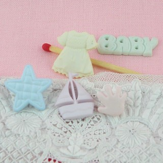 Set of five Buttons theme baby girl
