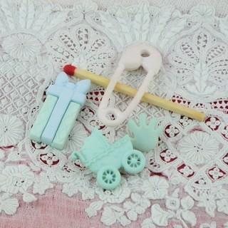 4 Boutons fantaisie bébé épingle landau cadeau