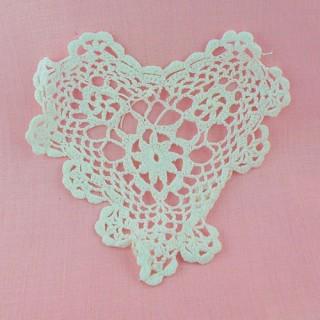 Coeur dentelle crochet 14 cm