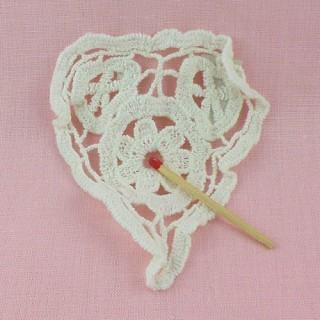 Heart crochet doily embellishments 9 cms