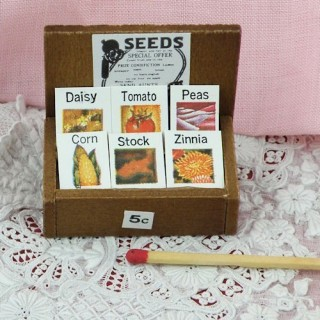Seed pack and display box miniature for doll house.