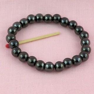 Bracelet perles hématites aimantées 9 mm création bijoux