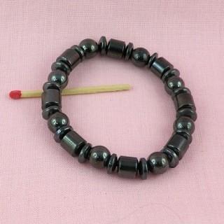 Bracelet perles hématites aimantées création bijoux