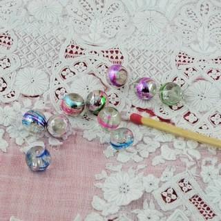 Schillernde runde, irrisierte Glasperlen 7 mm.