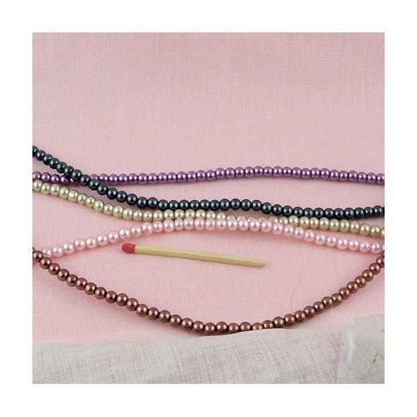 Perle verre nacrée ronde 4 mm.
