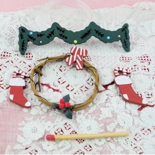 Décoration Noël miniature maison poupée