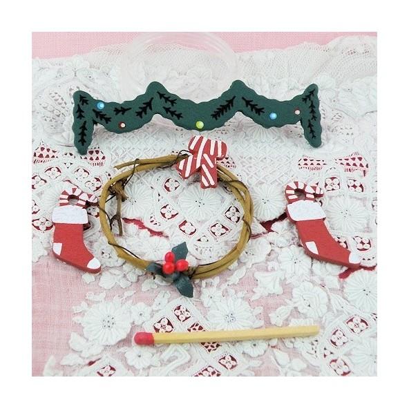 Christmas Miniatures.Decorations Wooden Christmas Miniatures Mercerie De Poupee