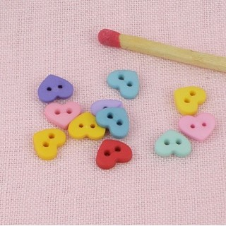 10 Heart Buttons small tiny