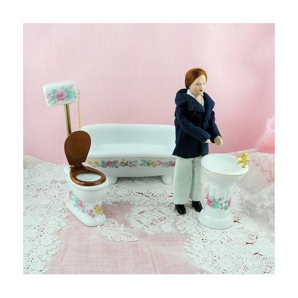 Miniature china bathroom set dollhouse.