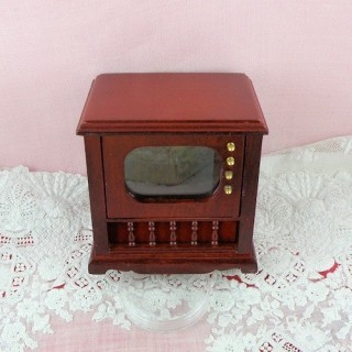 Meuble radio télé rétro miniature maison poupée