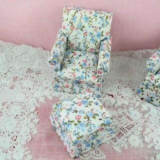 Fauteuil club salon meuble miniature maison poupée