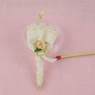 Lace parasol miniature dollhouse Umbrella for doll 8 cms
