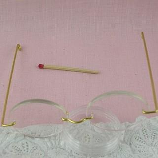 Lunettes poupée miniature métal 10 cm.