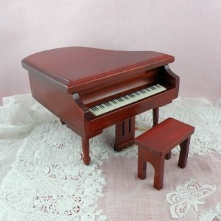 Mahogany piano miniature doll house living room