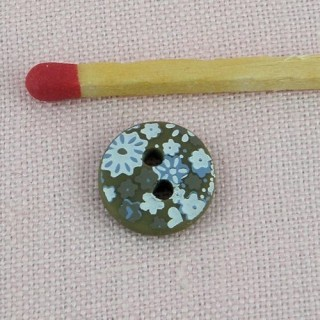 Round button with printed flowers 1 cm.