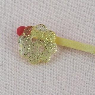 Bouton mercerie fleur paillettes or 1 cm, 11 mm.