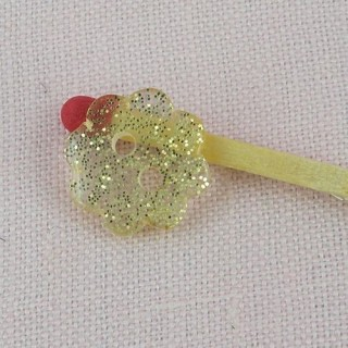 Flower glitter plastic button gold 1 cm