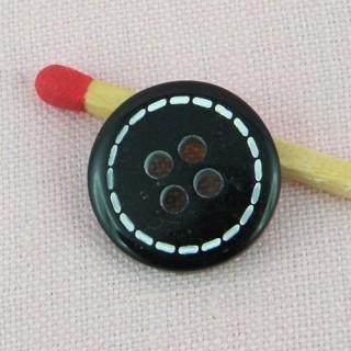 Bouton rond surpiqué 4 trous 15 mm