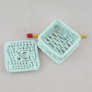 Square metal box miniature for dollhouse