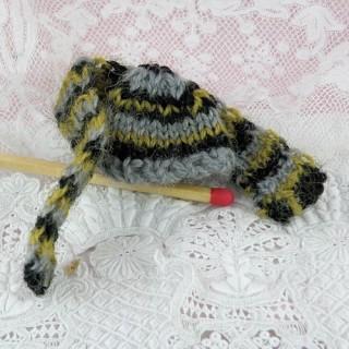 Muñeca de sombrero y bufanda miniatura 1/12 3 cm