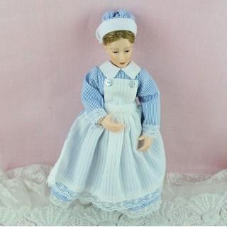 Kindermädchen 1900 Miniatur Puppe 1/12ème verrenkt gegliedert, 14 cm.