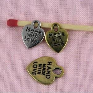 Heart tiny, small pendant, charm , doll jewel heart, 8mms