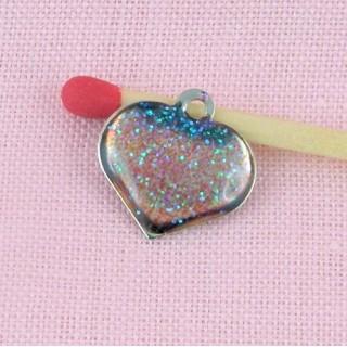Breloque coeur, Pendentif cœur bombé translucide scintillant, breloque, 1,2 cm