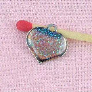 Pendant convex translucent heart, doll jewel 1,2 cm, 12mm.