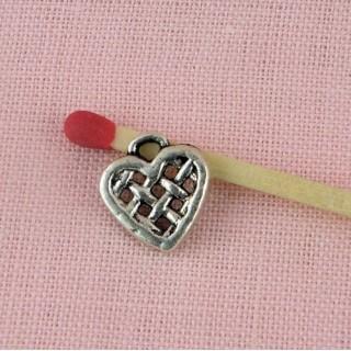 Heart pendant swirl, hammered, 18mms