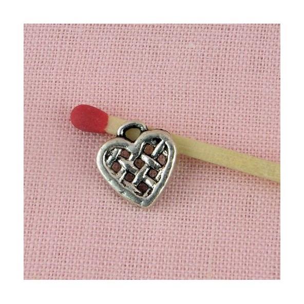 Breloque Coeur pendentif grillagé, qualité lourde 12 mm.