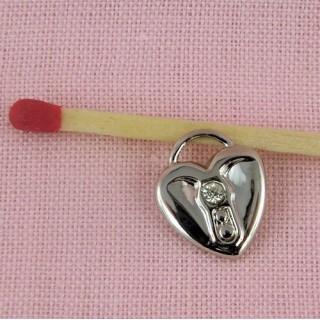 Pendentif cœur bombé strass, breloque coeur strass, 13 mm