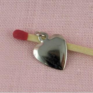 Breloque Coeur pendentif fin lisse 14 mm.