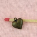 Breloque coeur, Pendentif cœur bombé, bijou poupée,1,4 cm