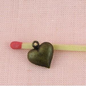 Breloque Pendentif cœur bombé bijou poupée 14 mm