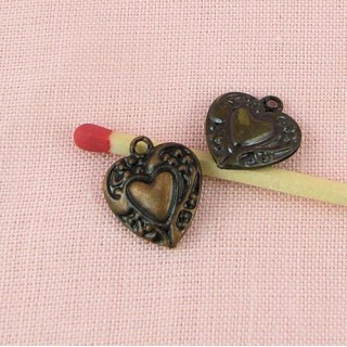 Pendant heart bulged engraved doll jewel 14 mm