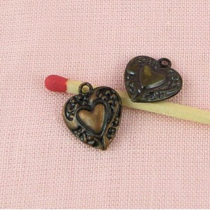 Pendant heart hollowed,bulged, engraved, doll jewel, 14 mm