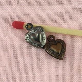 Pendentif cœur bombé, bijou poupée, 1,2cm