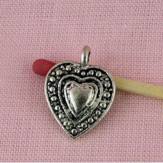 Heart pendant swirl, hammered, 19 mms