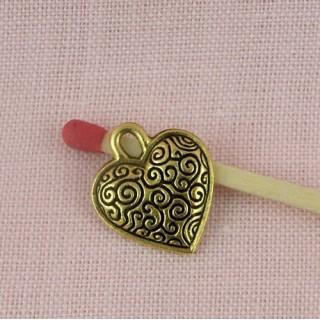 Heart pendant swirl, heart charm engraved, 15 mms