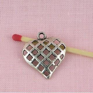 Breloque Coeur pendentif grillagé, qualité lourde 2 cm.