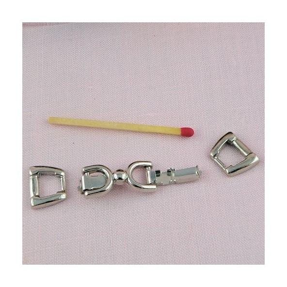 Attache fermoir clip trois parties, fermoir bracelet ceinture milniature poupée 2,7 cm