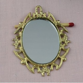 Minature oval brass metal mirror doll house 9cms.