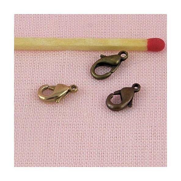 Attache mousqueton menotte, fermoir matériel bijouterie, ceinture poupée 1 cm