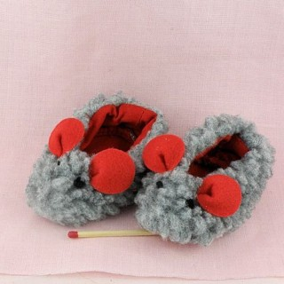 Miniature mouse doll slippers 7 cms